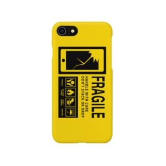 スマホ取り扱い注意 英語 黄色 Smartphone cases