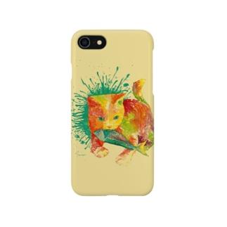 ネコ_cat.2_watercolor_yellow Smartphone cases