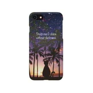 夕暮れの空を見つめる猫スマホケース Smartphone cases