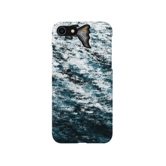 アイフォン7に生きるお魚さん(黒) Smartphone cases