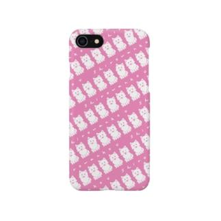 しろわんこパターン(いちごミルク)iPhoneケース Smartphone cases