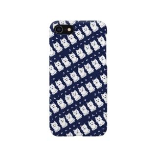 しろわんこパターン(ネイビー)iPhoneケース Smartphone cases