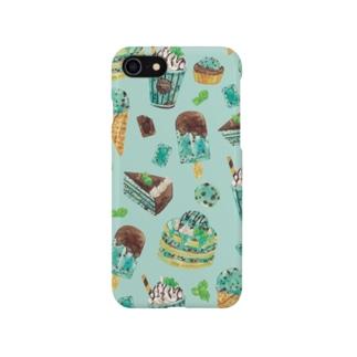 チョコミント iPhoneケース(青) Smartphone cases