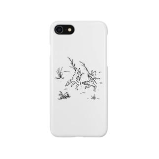 鳥獣戯画風たぬき Smartphone cases