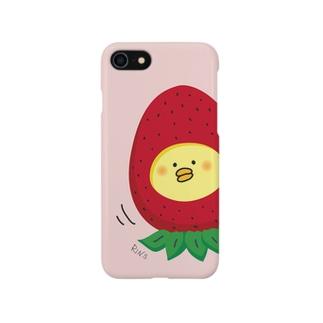 イチゴひよこのiPhoneケース(ピンク色) Smartphone cases