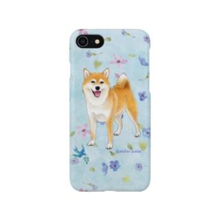柴犬(青い小花) Smartphone cases