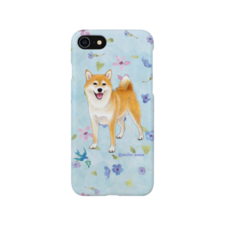 Atelier-Queueの柴犬(青い小花) Smartphone cases
