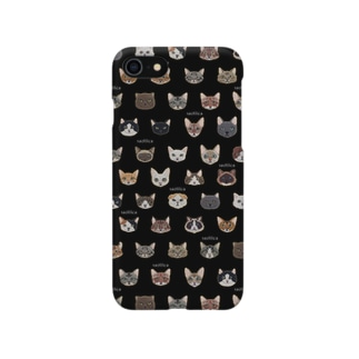 30種類の猫の刺繍柄iPhoneケース●黒● Smartphone cases