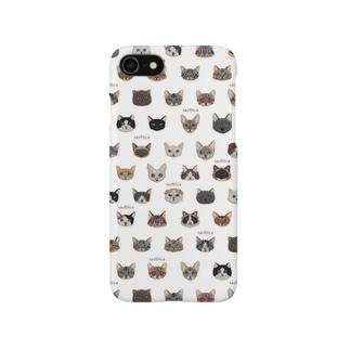 30種類の猫の刺繍柄iPhoneケース○白○ Smartphone cases