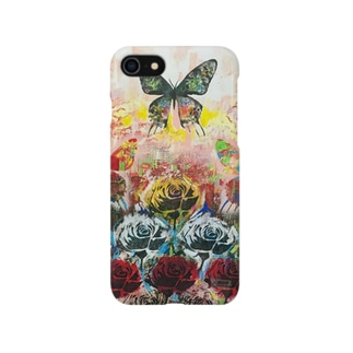 バラと蝶の風景 スマホケース スマートフォンケース