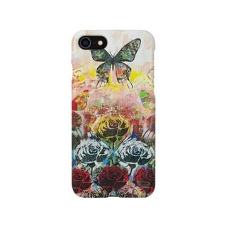 バラと蝶の風景 スマホケース Smartphone cases