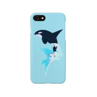 シャチ(波しぶき) Smartphone cases