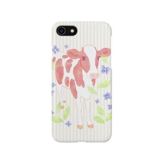 水彩うしケース Smartphone cases