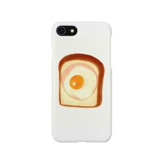 食パンにハム、目玉焼き Smartphone cases
