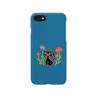 黒猫と花 Smartphone Case