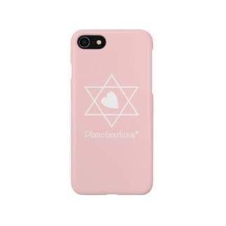 ハートロゴ(白)/背景ピンク Smartphone cases