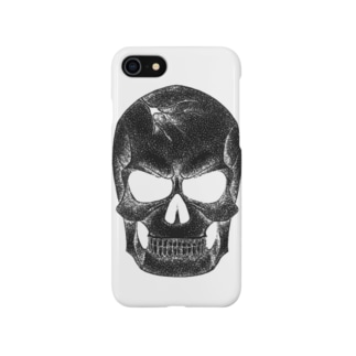 点スカル 黒 Smartphone cases
