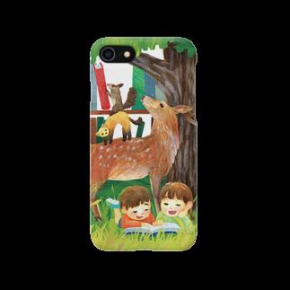 gomaphの親鹿とクロテンとエゾリスのブレーメン スマートフォンケース