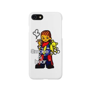 クマを背負ったボヘミアンB Smartphone cases