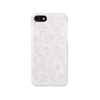ブタがいっぱい(ピンク) スマートフォンケース