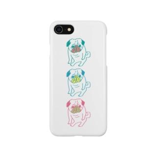 パグ座り/カラフル Smartphone cases