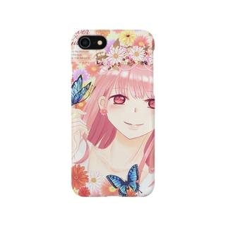 もふもふの春のお花と女の子と少しの蝶々 Smartphone cases