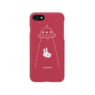 UFOにつれてかれるうさぎ/赤 Smartphone Case
