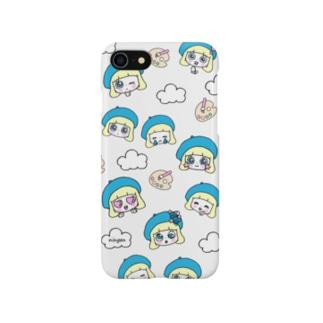 顔だらケース(ものすごく静かな優しいグレー) Smartphone cases