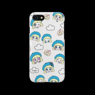ningen(ニンゲン)の顔だらケース(ものすごく静かな優しいグレー) Smartphone cases