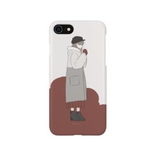 白い息と手袋 Smartphone cases