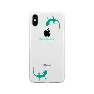 motchamのヤモリ シルエット ロゴ (ターコイズグリーン) Soft clear smartphone cases