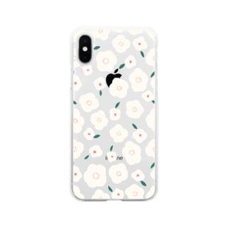 お花( アイボリー ) Soft clear smartphone cases