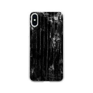 ガサガサストライプB Soft clear smartphone cases