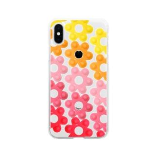 昭和な花はじき Soft clear smartphone cases