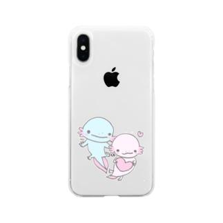 かわいいウーパールーパー Soft Clear Smartphone Case