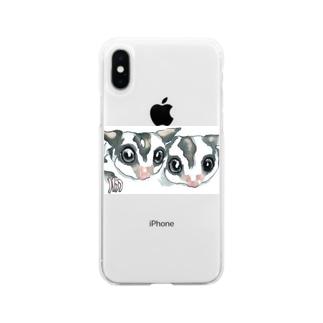 仲良しフクロモモンガ Soft clear smartphone cases
