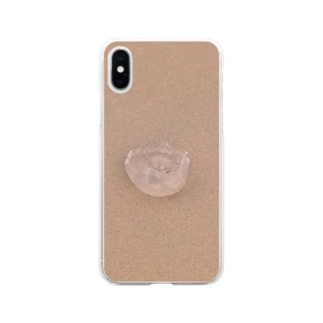 砂浜にクラゲ Soft clear smartphone cases