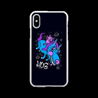 HUGオフォシャルショップのPig & Unicorn Black Soft clear smartphone cases