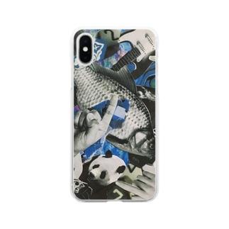 青いにぎやか Soft clear smartphone cases