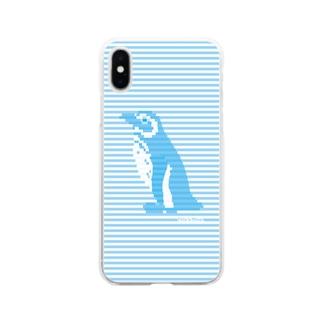 インビジブルボーダーペンギン:ブルー Soft clear smartphone cases