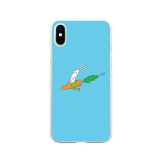 うさぎタイツのにんじんライド Soft clear smartphone cases