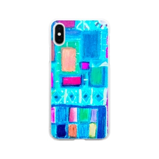 ターコイズスクエア Soft clear smartphone cases