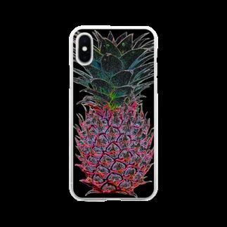 よしなしごとのcolorful ananas Soft clear smartphone cases