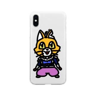 キャットC「棒立ち」 Soft clear smartphone cases