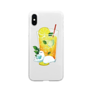 BARE FEET/猫田博人のレモンティーアザラシ・クリアケース Soft clear smartphone cases