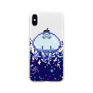 ドッド絵ミズクラゲ Soft clear smartphone cases