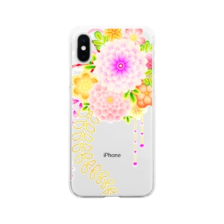 花かんざし01 Soft clear smartphone cases