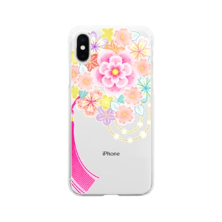 花かんざし02 Soft clear smartphone cases