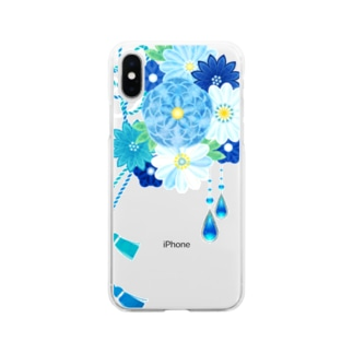 花かんざし03 Soft clear smartphone cases