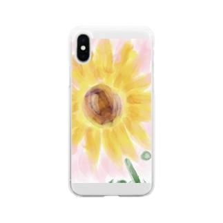 ひまわりsummer Soft clear smartphone cases